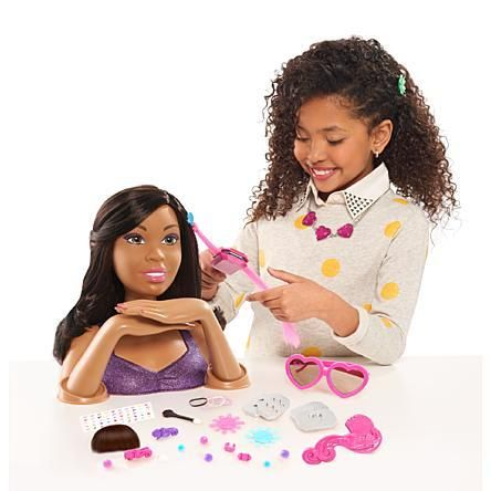 African American Black Hair Styling And Color Apply Makeup And Color Nails Head Doll Barbie Styling Head Baby Dolls For Kids Barbie