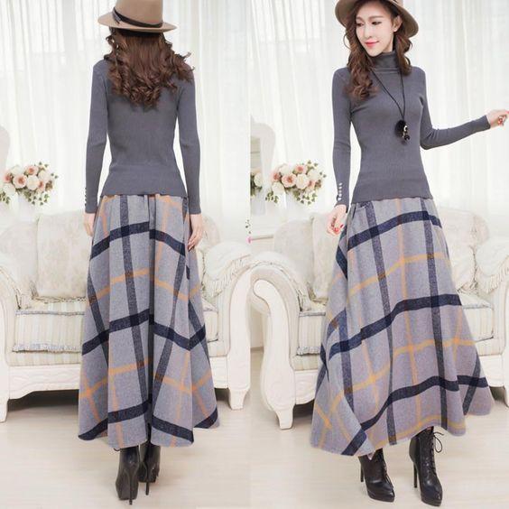 c7f191fc4b3 Winter Long Plaid Skirt Women Vintage Thick Plaid Wool Skirts High Waist  Big Swing Fashion Maxi Skirts Women Winter Plaid Skirt-in Skirts from  Women s ...