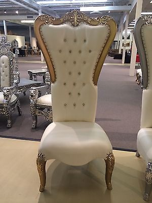 Gold White Absolom Tufted High Back King Queen Indian Hindu Wedding Throne Chair