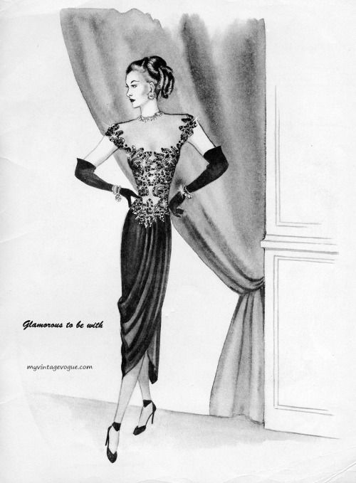 leading ladies by wilma 1947 fashion illustration pinterest Fashion Sketches for Beginners leading ladies by wilma 1947