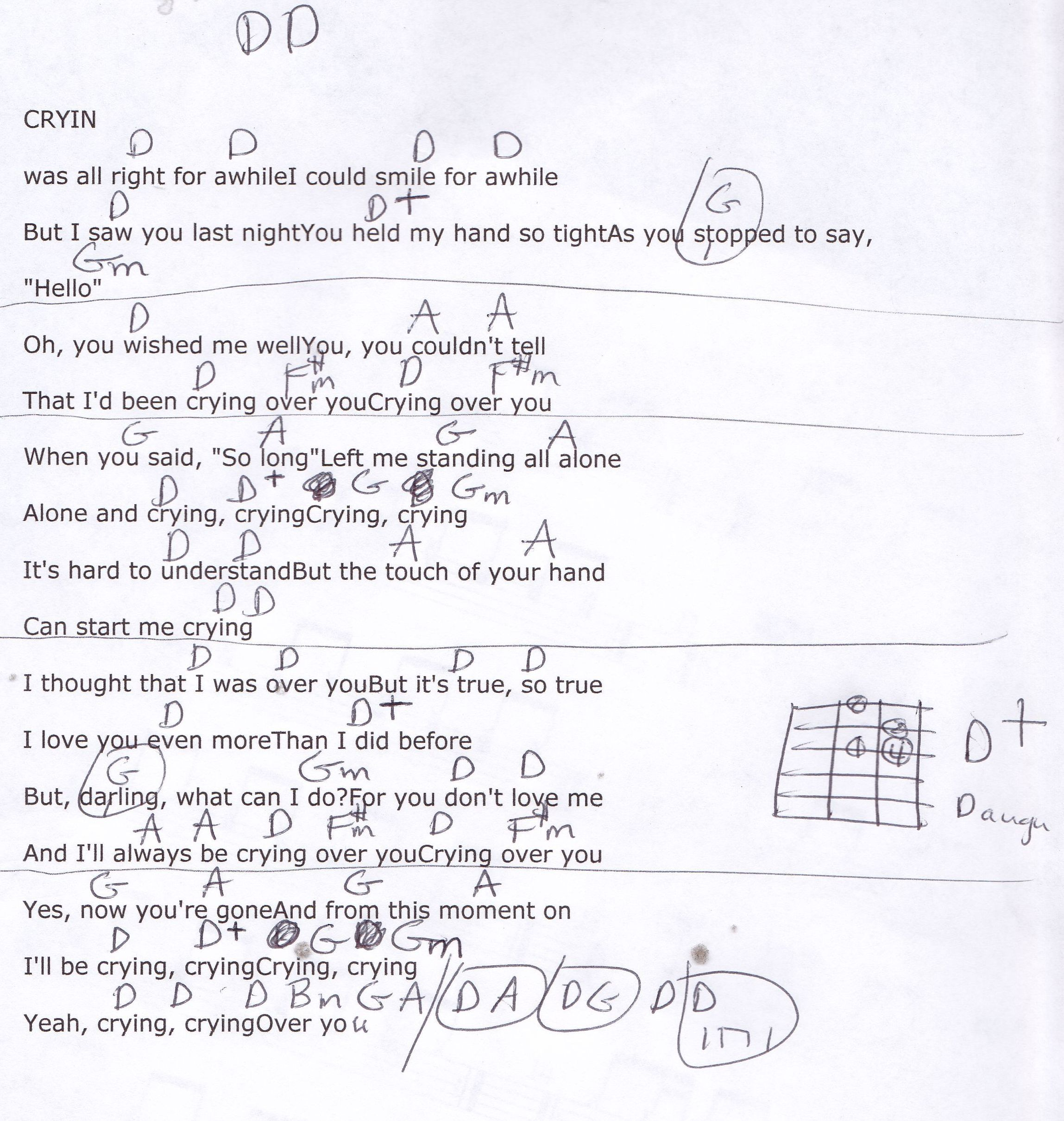 Crying Roy Orbison Guitar Chord Chart Music Pinterest Guitar