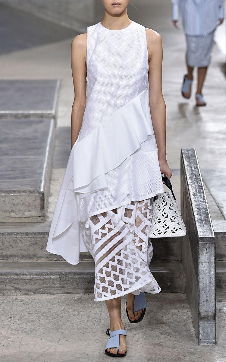 White Maze Poplin Jacquard Dress by Kenzo for Preorder on Moda Operandi