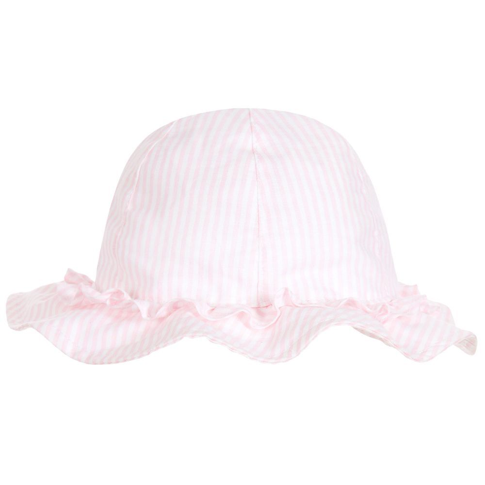 906c81d5e0f Il Gufo Girls Pink Stripe Linen Hat at Childrensalon.com