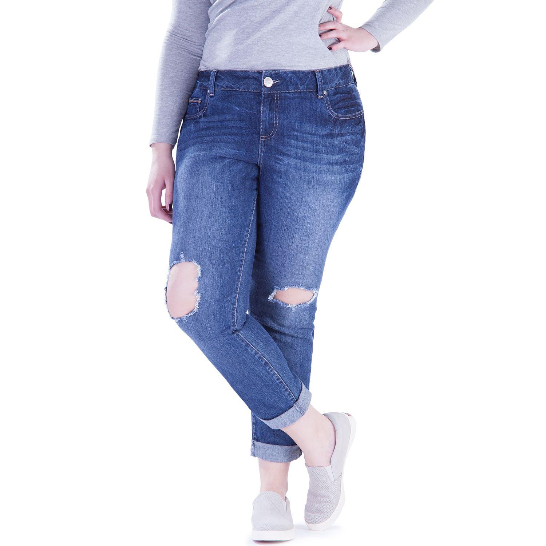 d0c1a11879c90 Juniors  Plus Size Amethyst Ripped Girlfriend Jeans