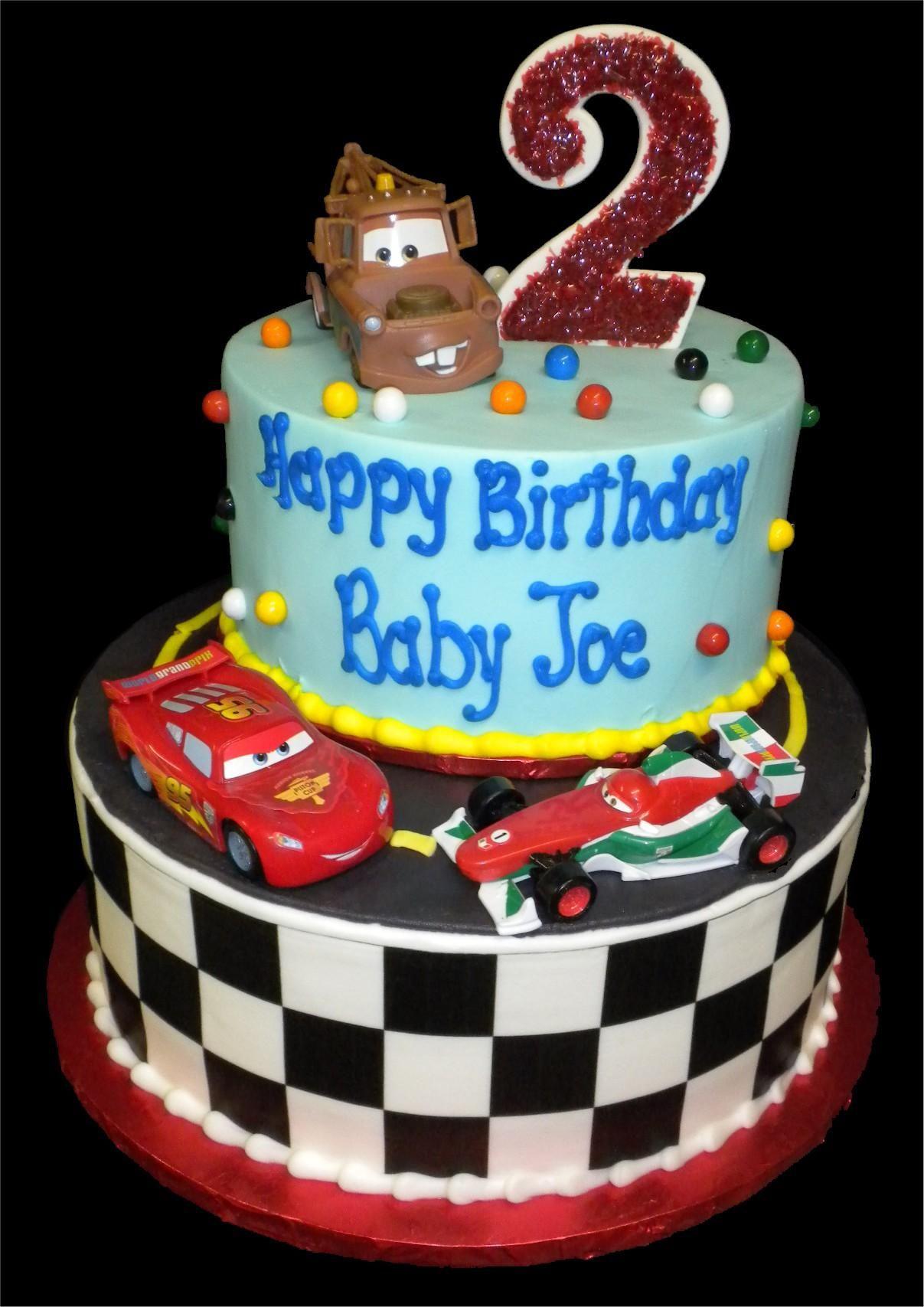 Disney Cars 2nd Birthday Cake Buttercream Iced Round 2