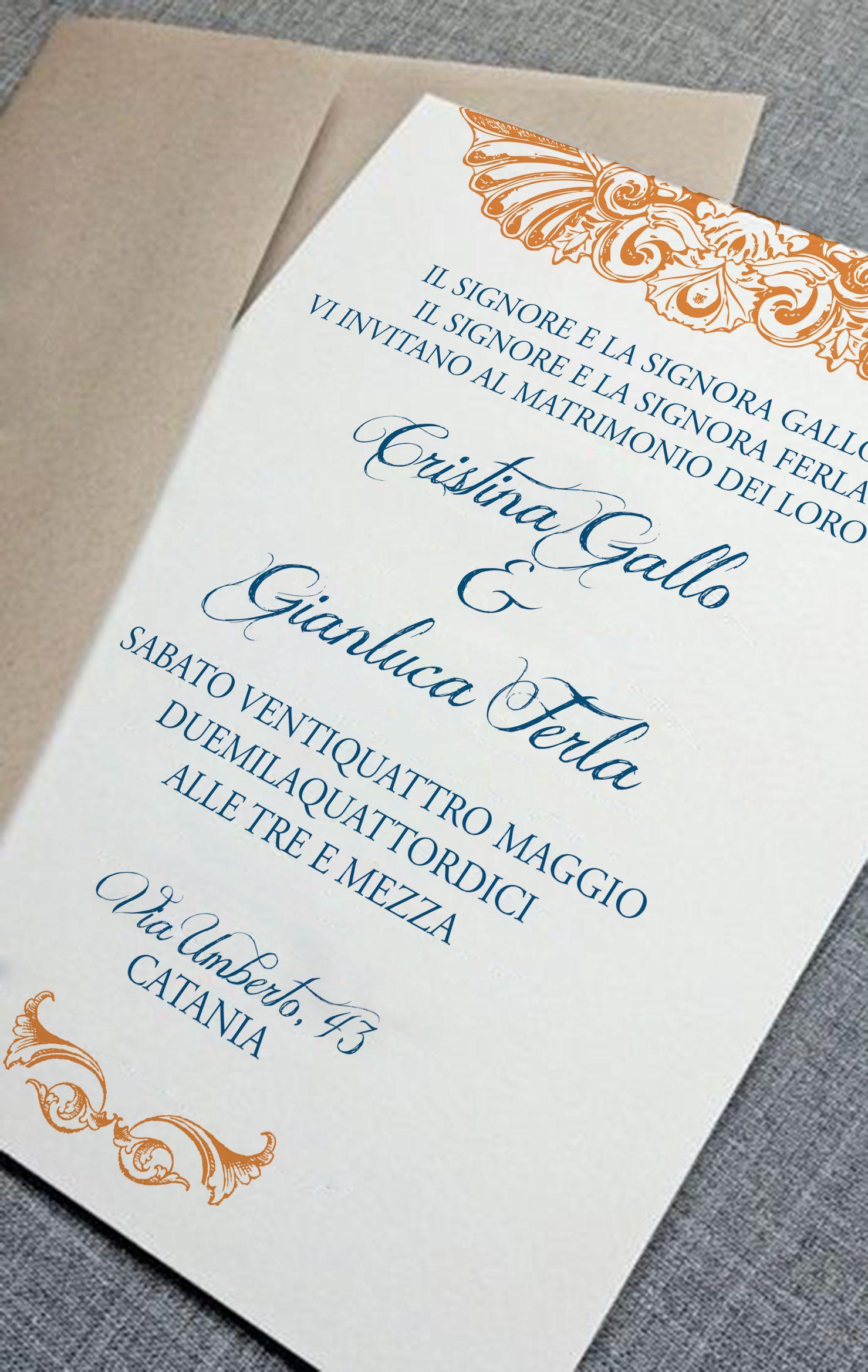 Partecipazioni Matrimonio Catania.My Last Wedding Invitation Orange And Blue Partecipazioni Di