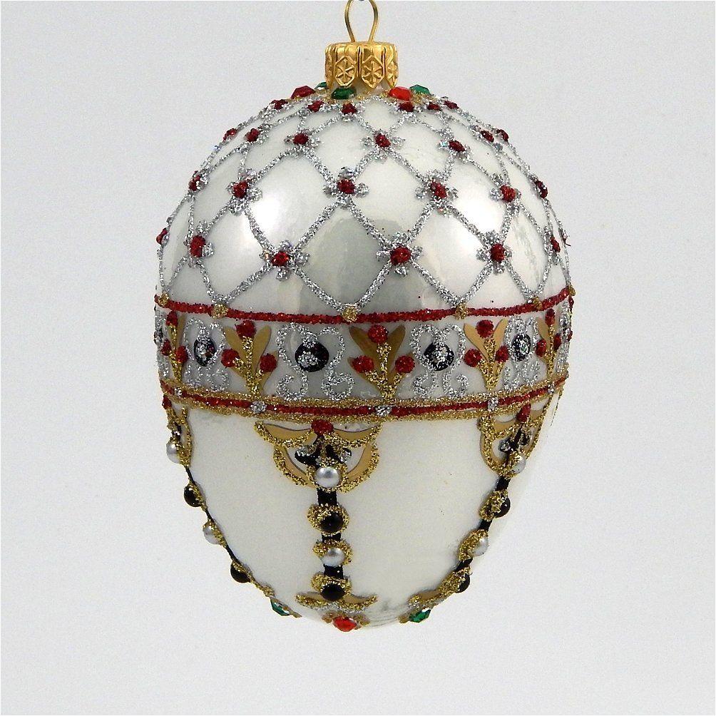 Polish glass ornaments - Faberge Inspired Renaissance Pearl Egg Polish Mouth Blown Glass Christmas Ornament