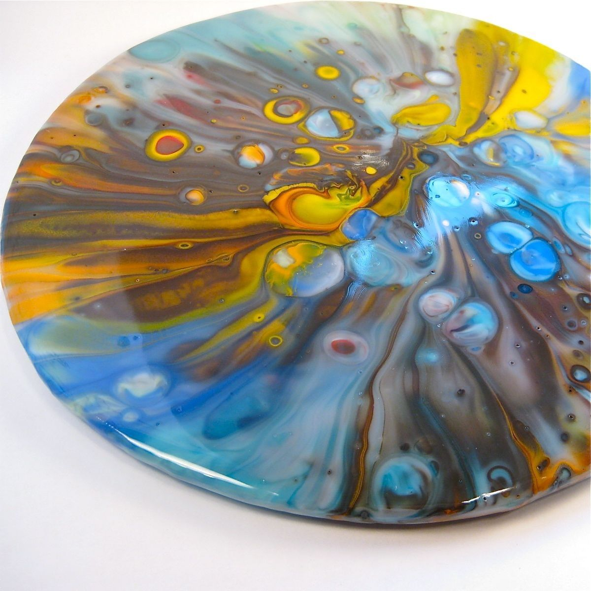 Large Fused Glass Pot Melt Serving Tray 10 Inches Arte Em