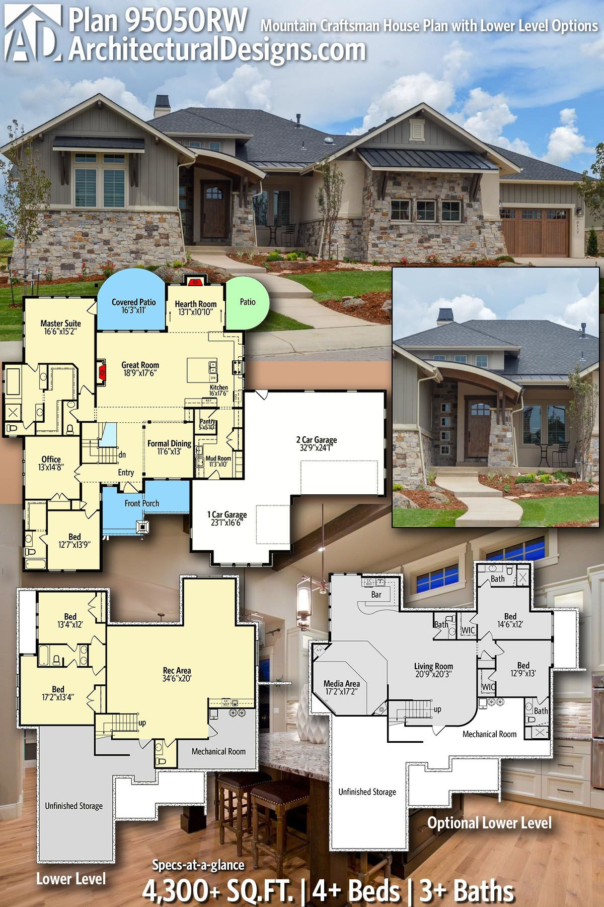 Plan 95050RW: Mountain Craftsman House Plan with Lower Level Options