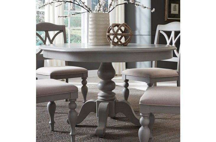 Summer House Dove Grey Round Extendable Dining Table From Liberty Coleman Furniture Round Dining Room Table Grey Dining Tables Round Extendable Dining Table