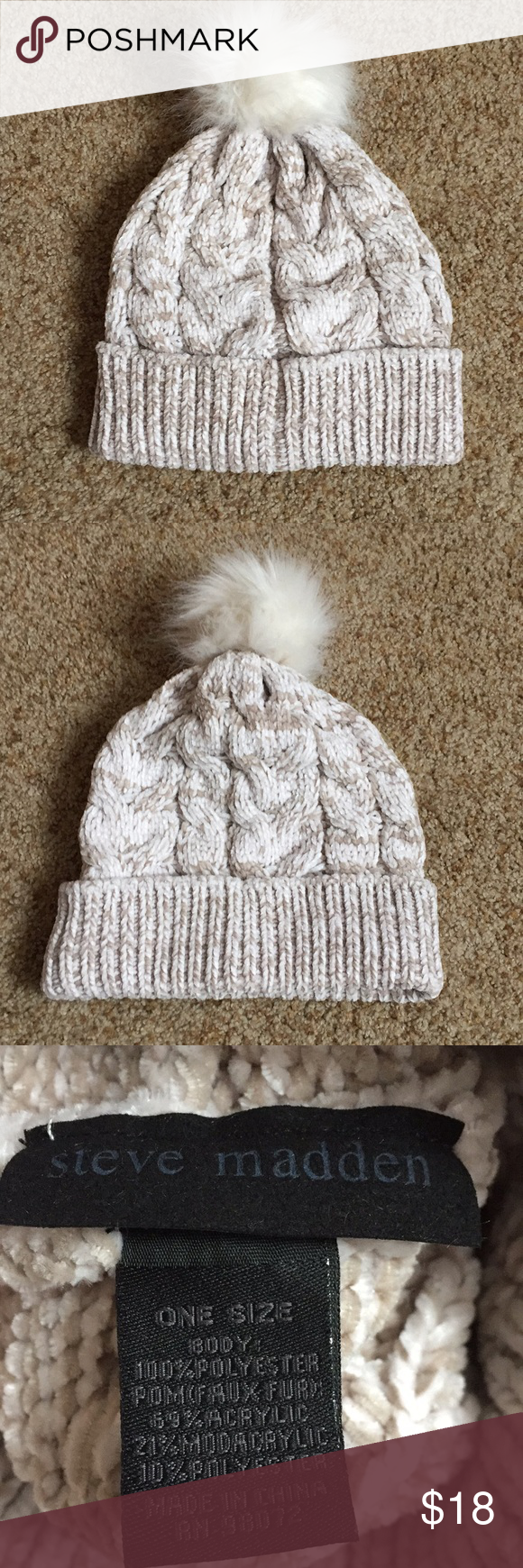 a600237b3e4277 Adorable New Steve Madden Winter Hat Adorable cream/light brown super soft winter  hat! Snow bunny cuteness. Never been worn, I still have the tags but have  ...