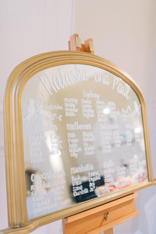 Mirror Table Plan - Sarah-Jane Ethan Photography | Pink & Gold Wedding at…