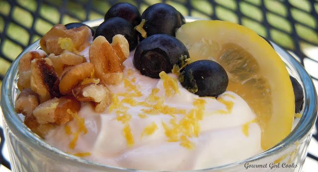 Gourmet Girl Cooks: Simple Breakfast Idea...Fresh Lemon-Blueberry-Walnut Greek Yogurt...