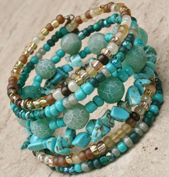 Beaded Memory Wire Bracelet Boho Wrap Festival Jewelry Semi Precious Gemstones