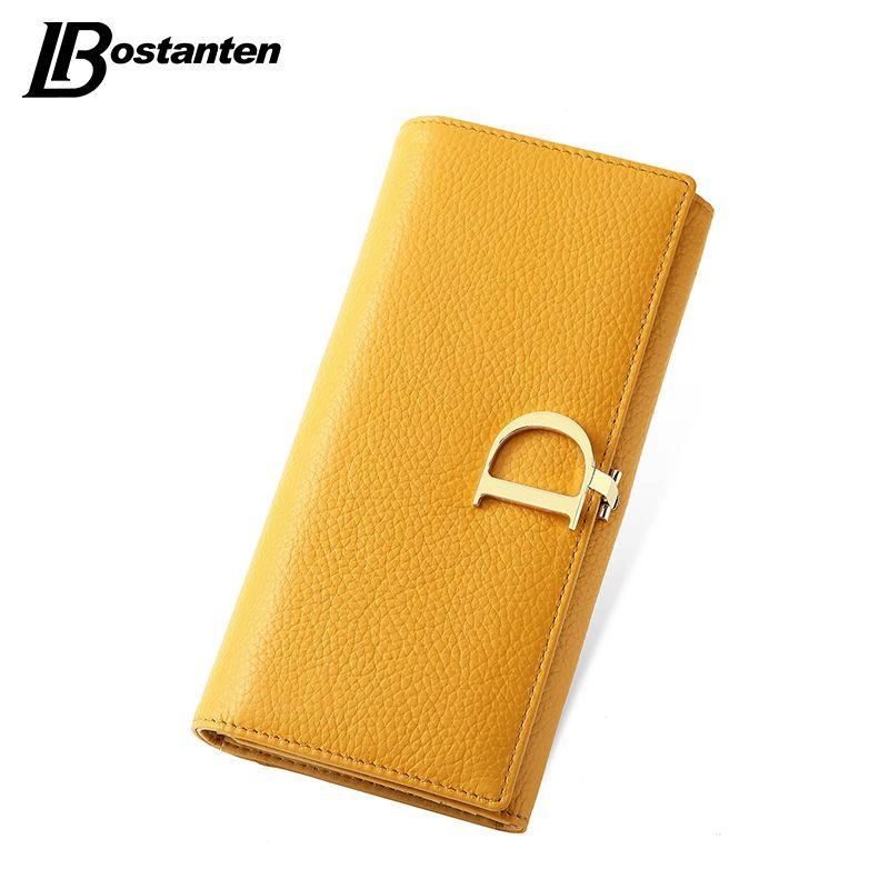 Bostanten 2016 정품 가죽 여성 고급 유명 브랜드 지갑 여성 동전 지갑 홀더 여성 지갑 긴 지갑