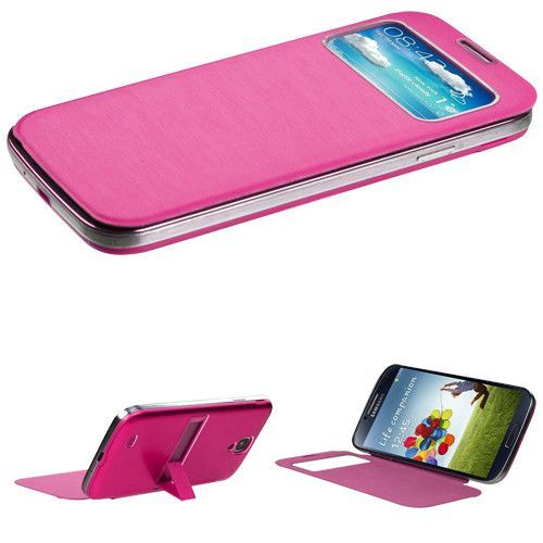 Book-style Brushed Metal View-Flip Galaxy S4 Battery Cover - Hot Pink