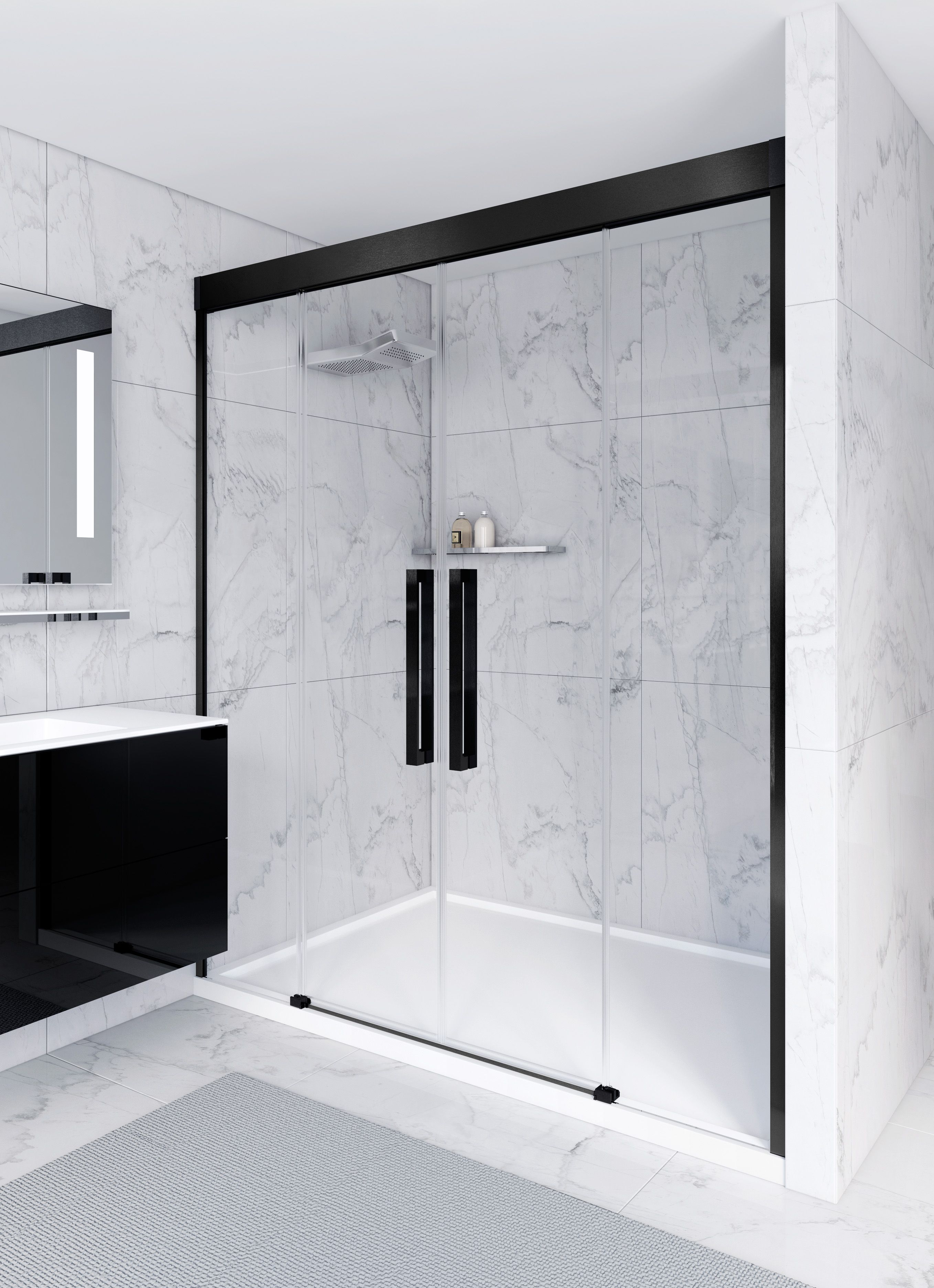 Mampara de ducha con perfil de aluminio negro by cosmic - Perfiles mamparas ducha ...