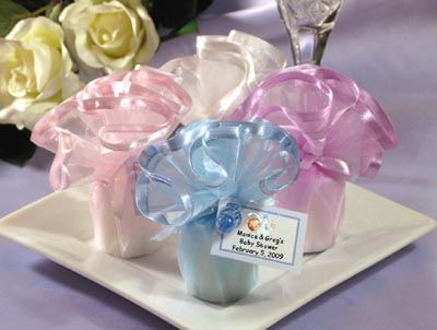 LMK Gifts Baby Shower Wavy Tulle Candles Favors
