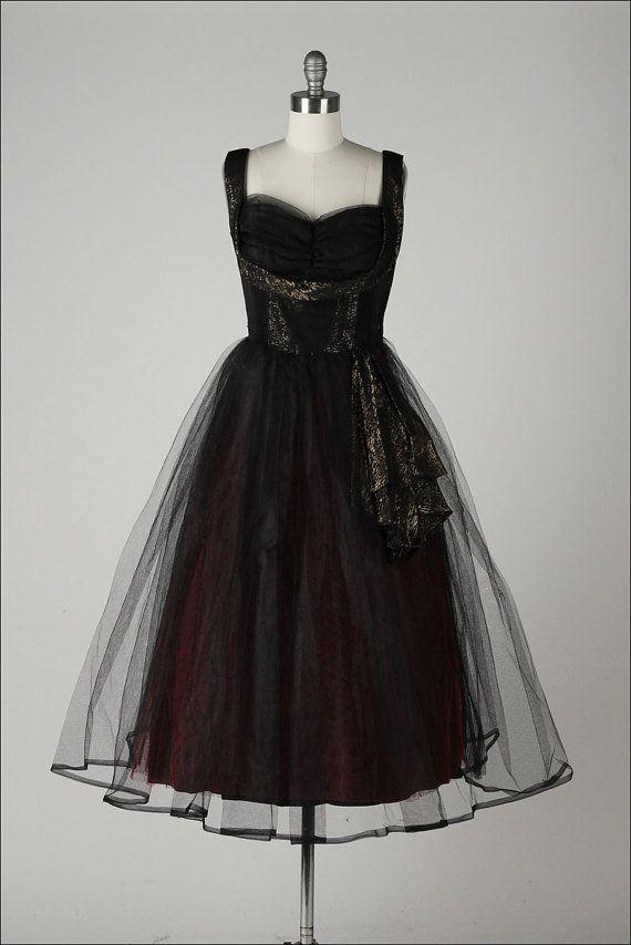 vintage 1950s dress . black tulle formal . by millstreetvintage