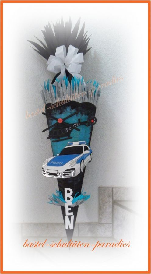 Bastelset Schultute Polizeiauto Mit Hubschrauber Schwarz Blau Schultuten Bastelset Schultute Basteln Schultute Selber Basteln