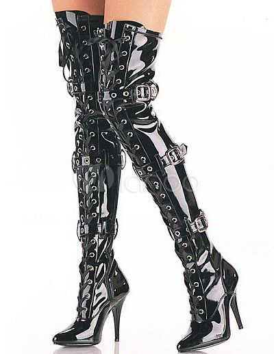 Black Thigh High 4 1/10'' High Heel Patent Leather Sexy Boots ...