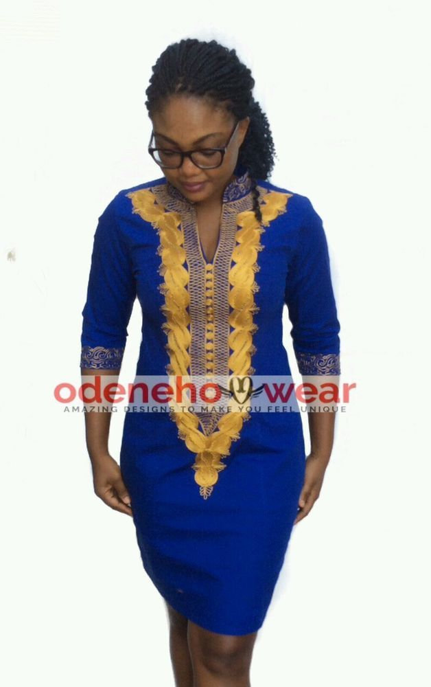 Odeneho wear ladies blue polished cotton dress embroidery