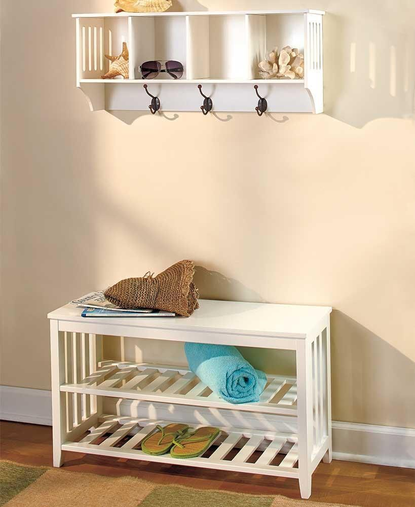 Details About 2 Pc White Entryway Wall Shelf Hall Bench Coat Rack Storage Seat Set Mudroom Wall Shelves Wooden Wall Shelves Shelves