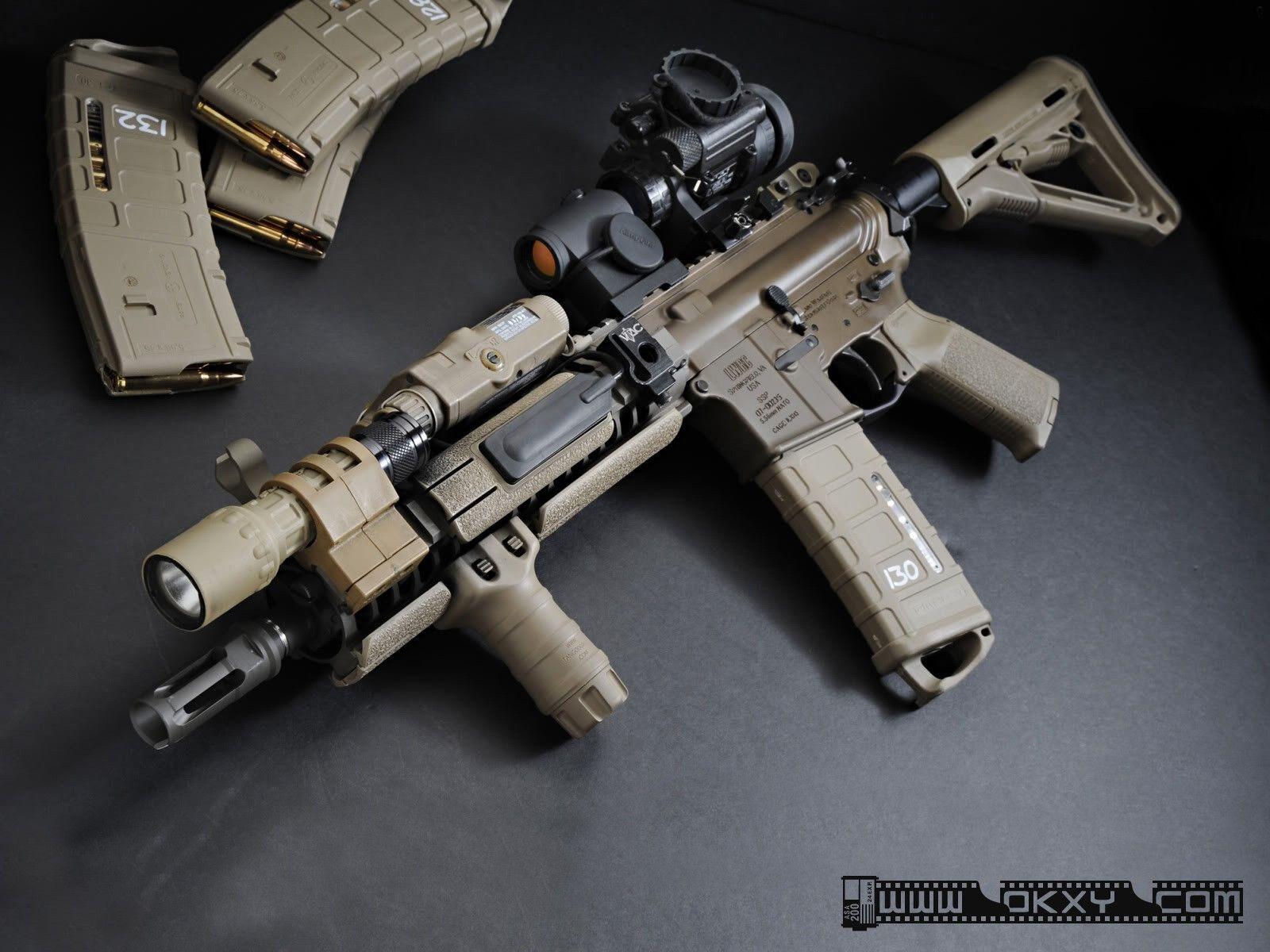 AR 15 Guns Military Rifles Sand Silencer Weapons