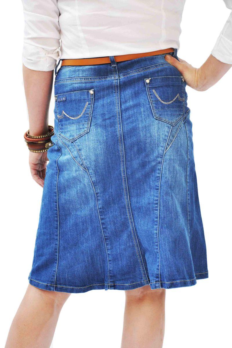 bd3459f1e2 mid-blue denim knee length skirt from Denim-skirts online. | Denim ...