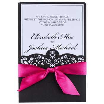 Hot Pink Black Laser Cut Wedding Invitations Text Me Your