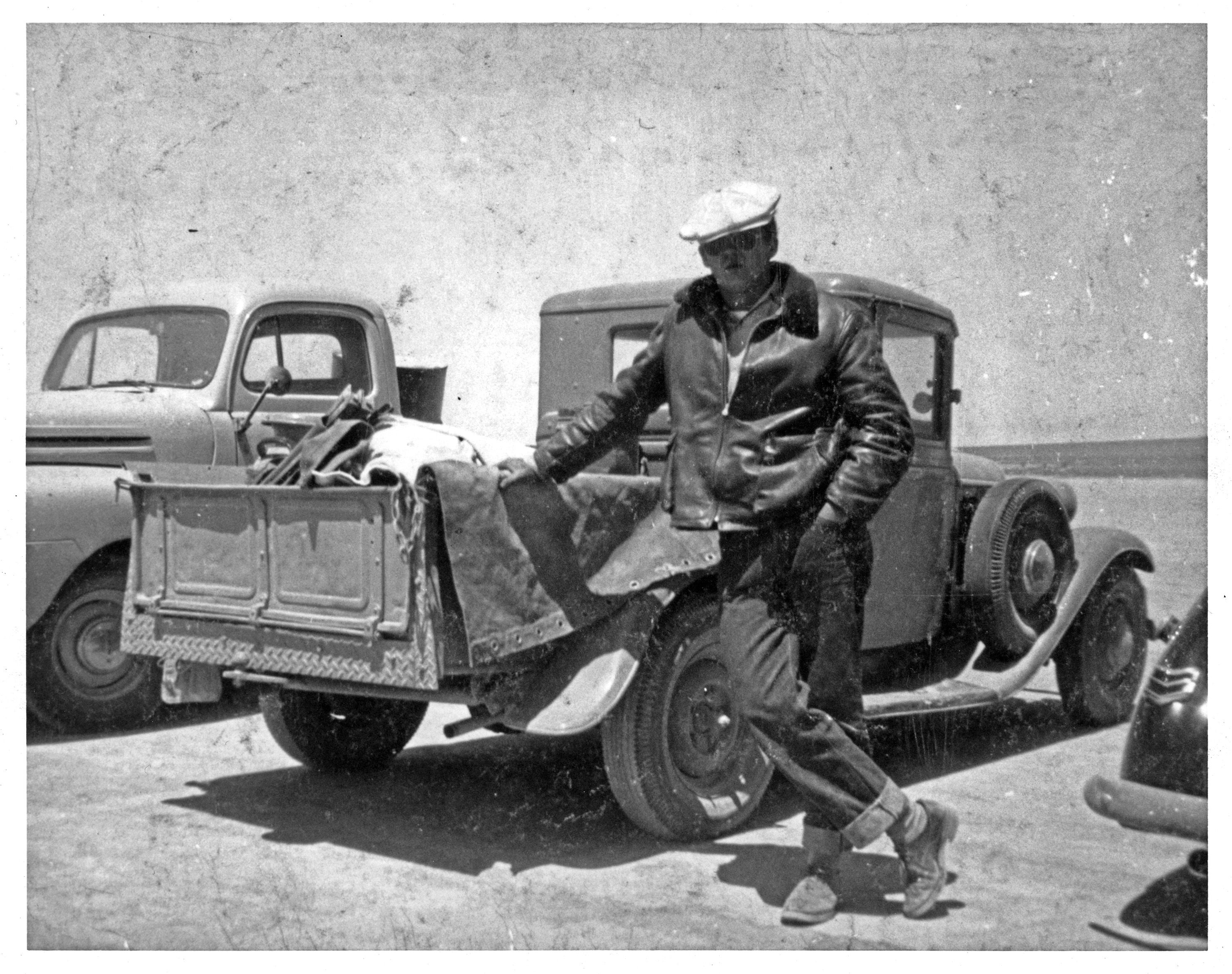 Frank At Muroc Dry Lake With His 34 Ford Pickup Frank Currie