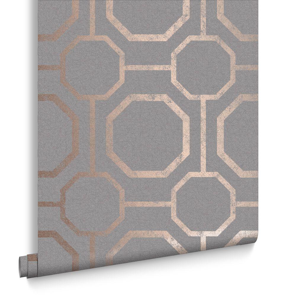 Marrying An Earthy Textured Grey Backdrop With Rose Gold Metallic Geometric Detailing Creates The Beautiful Sashiko Rose Gold Wallpaper Navy Wallpaper Sashiko