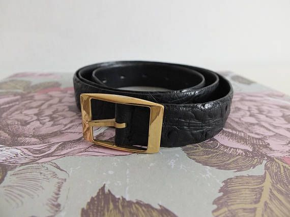 LAiglon black/women belt in ostrich leather belt with belt for women/Belt womens/ostrich belt original/vintage box / / black belt