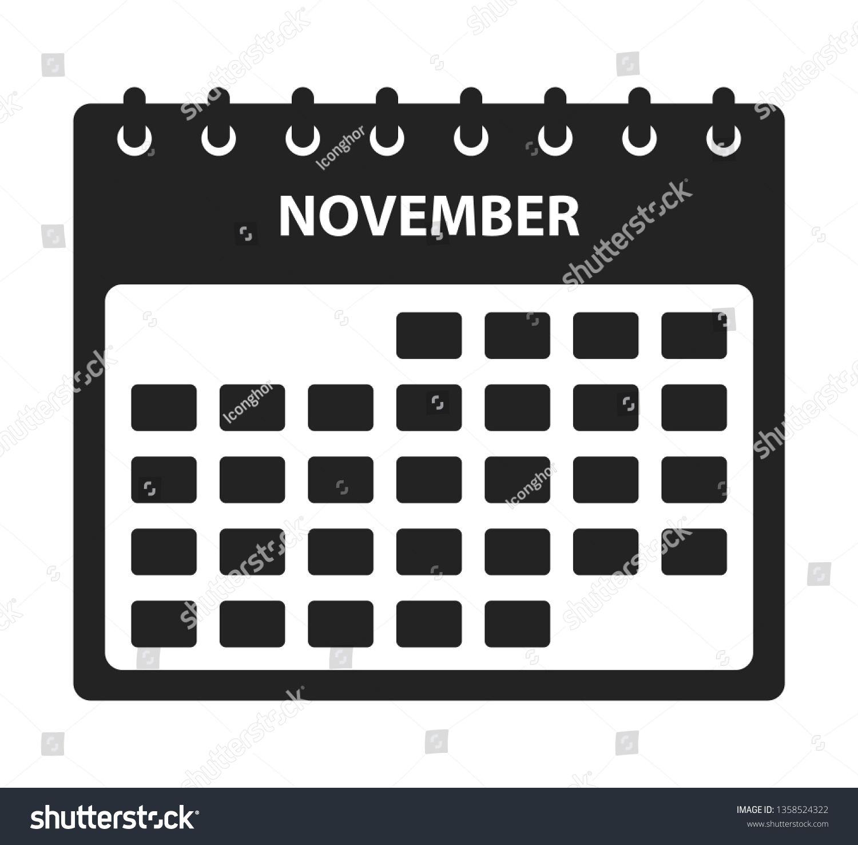 November Calendar Icon Flat Style Vector Stock Vector