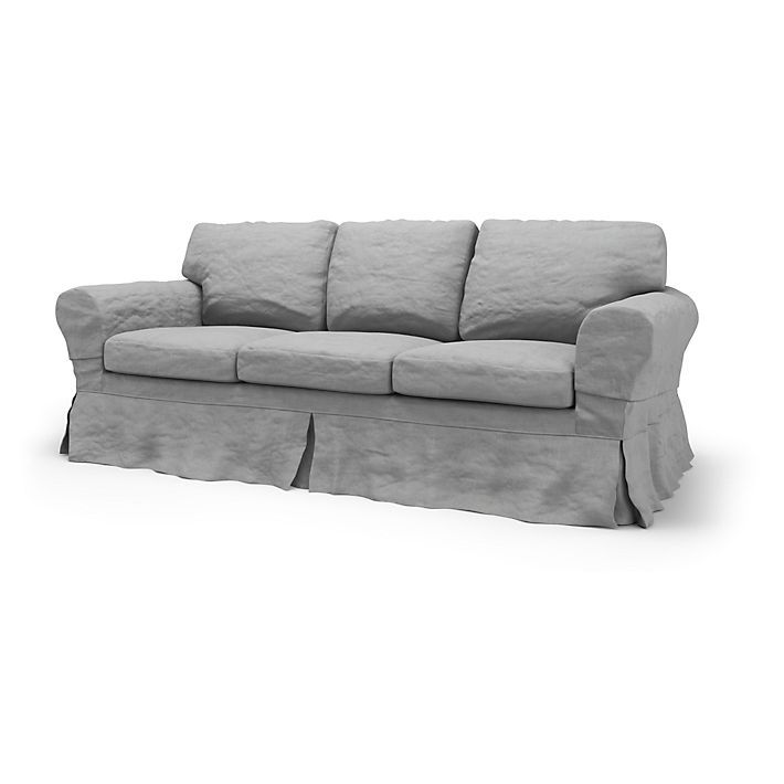 Ektorp Sofa Covers 3 Seater Loose Fit Country Using The Fabric Rosendal Pure Washed Linen Silver Grey Sofa Covers Ikea Couch Ikea Sofa Covers