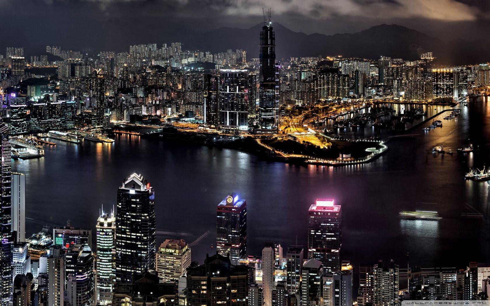 City Night View Hd Desktop Wallpaper Cityscape Wallpaper Night