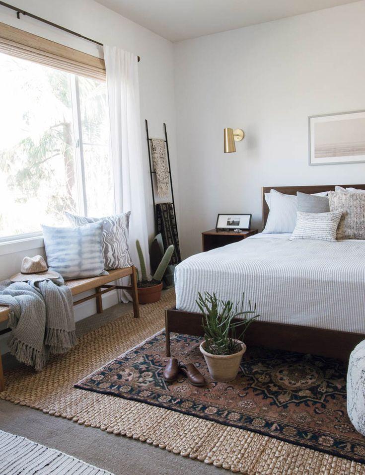 white bedroom with boho touches | Elegant master bedroom ... on Boho Master Bedroom Ideas  id=20293