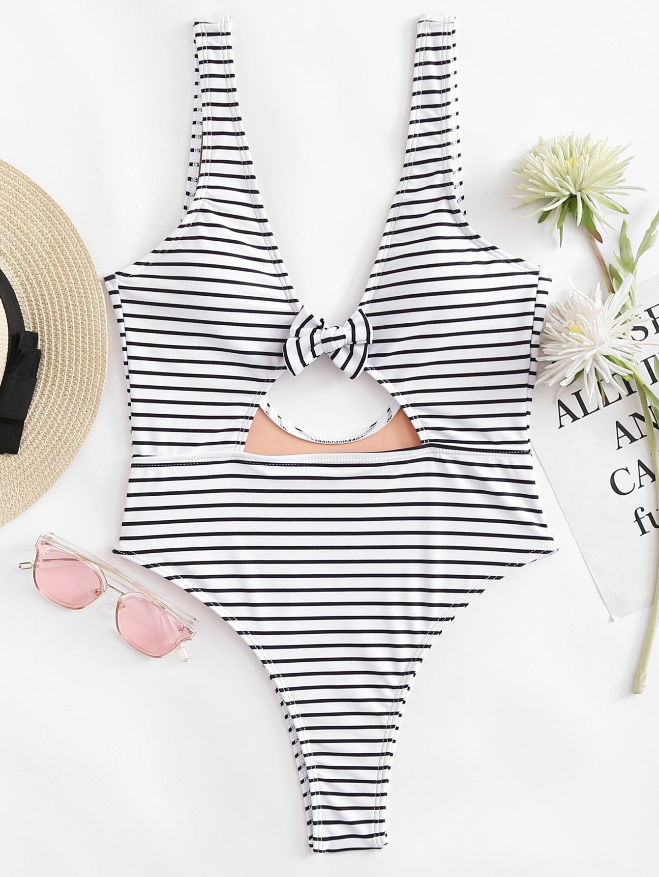 ae8fcb864af9a Shop Bow Tie Striped Swimsuit online. SheIn offers Bow Tie Striped Swimsuit  & more to fit your fashionable needs.