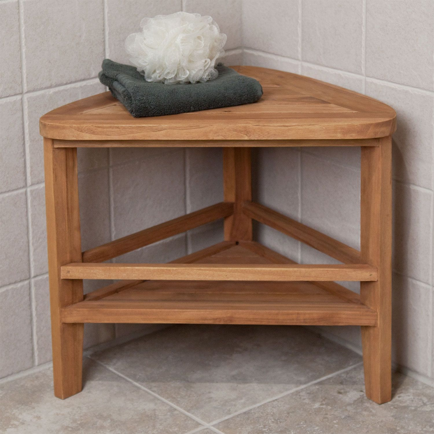 Teak Corner Shower Stool | Teak, Stools and Corner