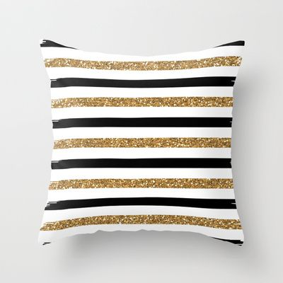 Black And Gold Throw Pillow By Monique Bellavia 20 00
