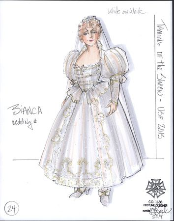 The Taming Of The Shrew Costume Designs By Bill Black Sketch 24 Bianca Final Wedding Costume Design Costume Design Sketch Fashion Illustration