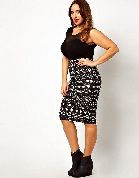 New Look Inspire Blurred Aztec Print Midi Skirt by New Look Inspire