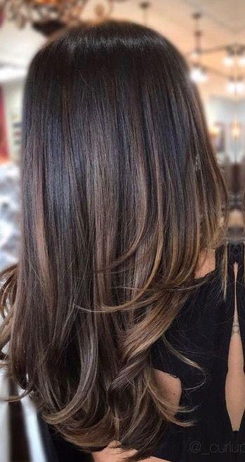 Subtle Brunette Bayalage Ombre On Dark Brunette Brown Hair Balayage Hair Styles Hair Highlights