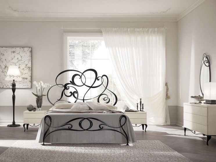 Best Black Contemporary Wrought Iron Bed With Headboard In 400 x 300