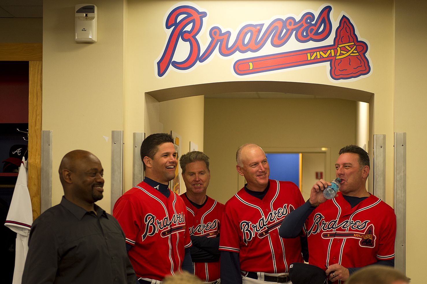 L R Marquis Grissom Javy Lopez Zane Smith Chalie Liebrandt And Pete Smith Atlanta Braves Baseball Atlanta Braves Braves Baseball