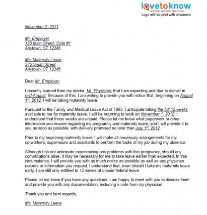 example of maternity leave letter to employer Happywinnerco