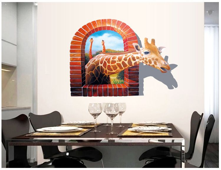 3D Wall Stickers Giraffe Individuality Creative Wall Stickers For Kids Room  The Sitting Room Bedroom Of