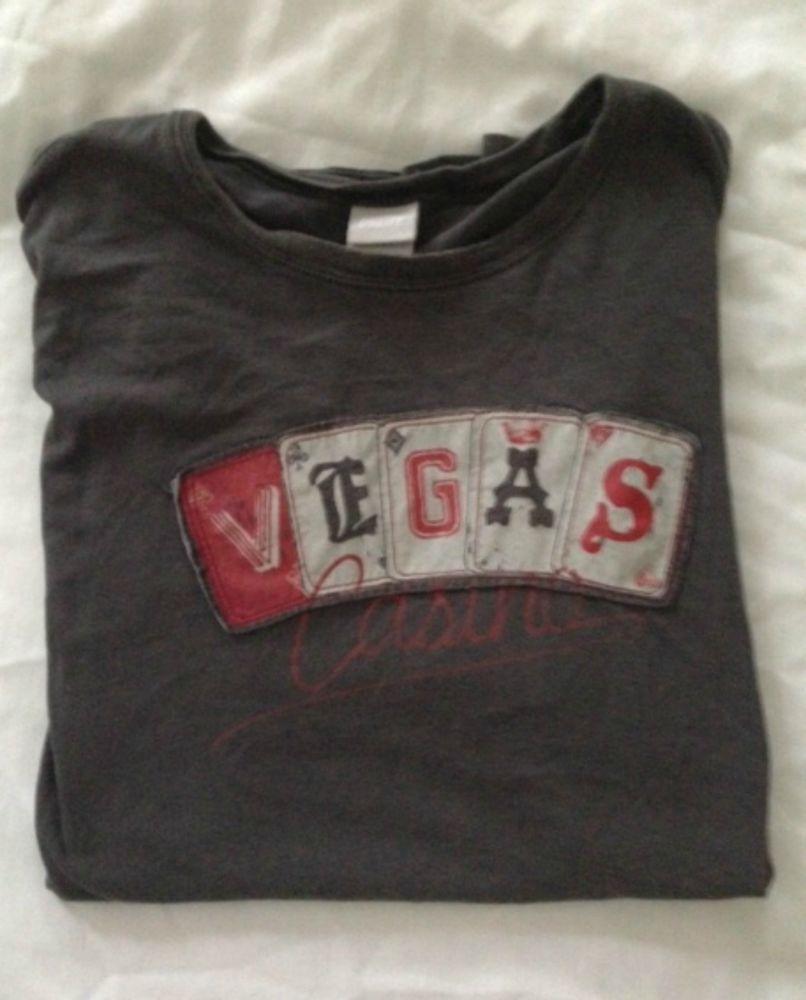 Vintage Las Vegas T Shirt Raised Letters Gambling Ace King Spades Poker  Slots