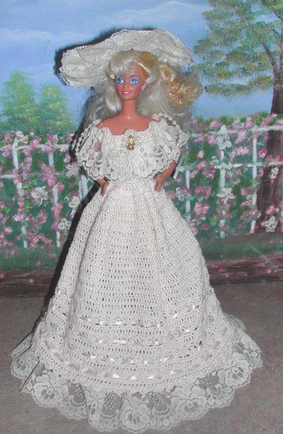 Crochet Fashion Doll Barbie Pattern- #391 TEA GOWN from LONDON | Ropa