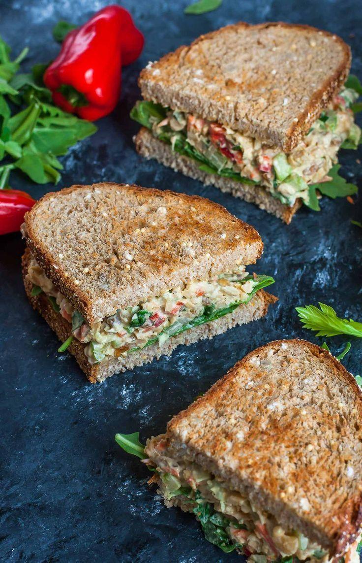 Garden Veggie Chickpea Salad Sandwich #chickpea #garden #salad #sandwich #veggie #healthyrecipes